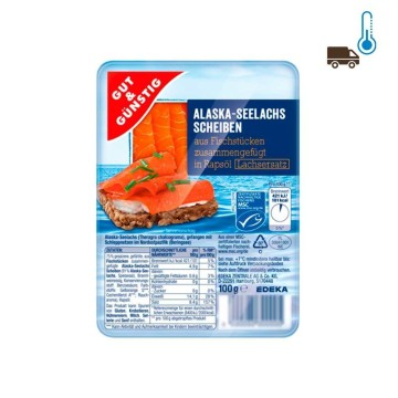 Gut&Günstig Alaska Seelachs Scheiben in Rapsöl 100g/ Sliced Salmon