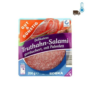 Gut&Günstig Truthahn-Salami Geräuchert 200g/ Salami de Pavo
