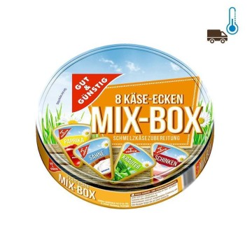 Gut&Günstig Käse-Ecken Mix-Box Schmelzkäsezubereitung 50% Fett 250g/ Spread Cheese Portions