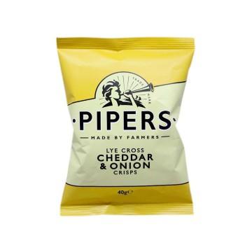Pipers Cheddar & Onion Crisps 40g/ Patatas Fritas Queso y Cebolla