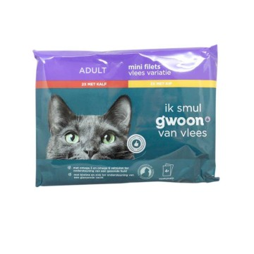Gwoon Mini Filets Vlees Variatie 4x85g/ Comida de Gato Húmeda