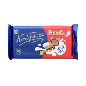 Fazer Milk Chocolate with Dumle 145g/ Chocolate con Leche y trozos de Caramelo