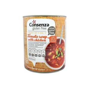 Consenza Glutenvrije Pittige Tomatensoepmed Kip 800ml/ Gluten Free Spicy Tomato Soup with Chicken