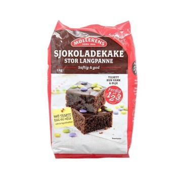 Møllerens Sjokoladekake Stor Langpanne 1Kg/ Preparado Tarta de Chocolate