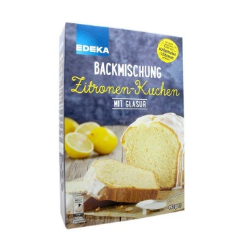 Edeka Backmischung Zitronen-Kuchen mit Glasur 493g/ Lemon Cake Mix with icing