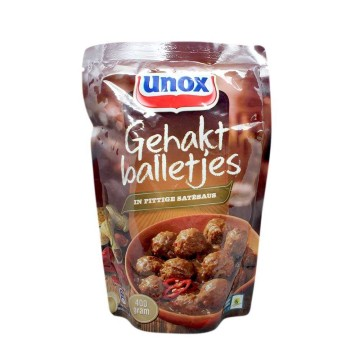 Unox Gehakt Balletjes in Pittige Satésaus 400g/ Meatballs in Spicy Saté Sauce