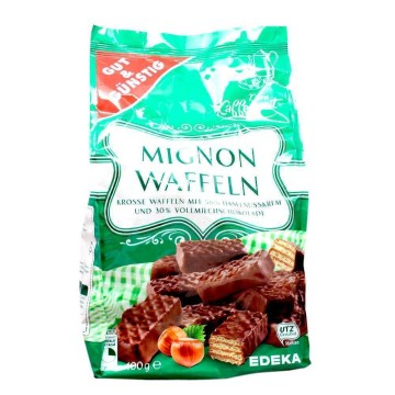 Gut&Günstig Mignonwaffeln 400g/ Chocolate Hazelnut Wafers