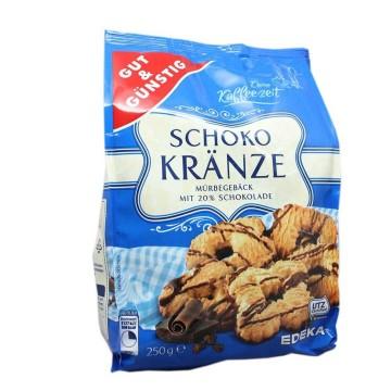 Gut&Günstig Schokokränze 250g/ Galletas con Chocolate Negro