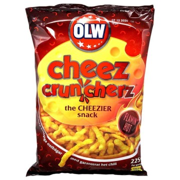 Olw Cheez Cruncherz Flamin' Hot 225g/ Flaming Hot Cheese Snacks