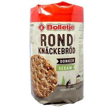 Bolletje Rond Knäckerbröd Donker Sesam 250g/ Pan Crujiente Integral con Sésamo