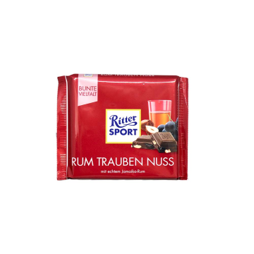 Ritter Sport Rum Trauben Nuss 100g/ Chocolate Ron, Pasas y Avellanas