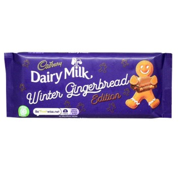 Cadbury Dairy Milk Winter Gingerbread Edition 120g/ Chocolate con Leche y Galletas de Jengibre