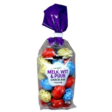 CB Paaseitjes Melk, Wit & Puur Chocolade 200g/ Milk, White & Dark Chocolate Easter Eggs