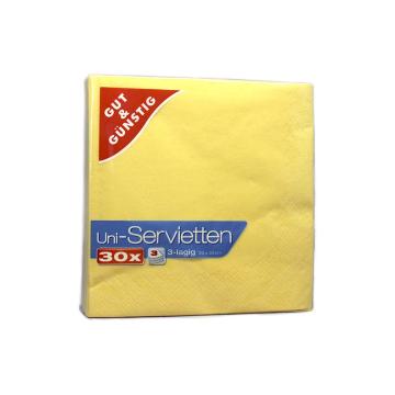 Gut&Günstig Uni-Servietten Gelb x30/ Yellow Napkins
