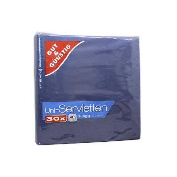 Gut&Günstig Uni-Servietten Blau x30/ Blue Napkins