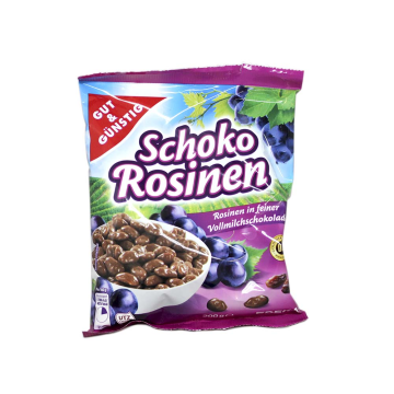 Gut&Günstig Schoko Rosinen in Vollmilchschokolade 200g/ Chocolate Milk Raisins