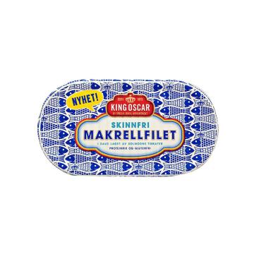 King Oscar Skinnfri Makrell i Tomat Uten 170g/ Mackerel Skinless in Tomato