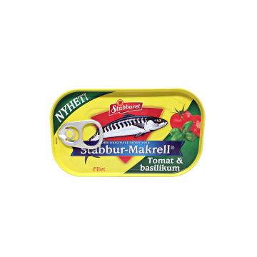 Stabburet Stabbur-Makrell Tomat i Basikilum 110g/ Filetes Caballa en Tomate