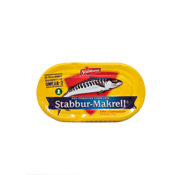 Stabburet Stabbur-Makrell Filet i Tomatsaus 170g/ Mackerel Fillets with Tomato