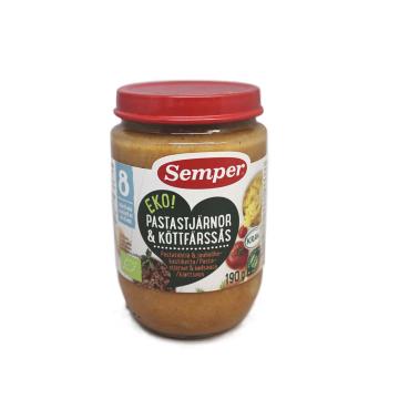 Semper Pastastjärnor & Köttfärssås 190g/ Potito de Pasta y Salsa