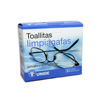 Unide Toallitas Limpiagafas Anti-vaho y Anti-huella x30/ Cleaning Glasses Wipes