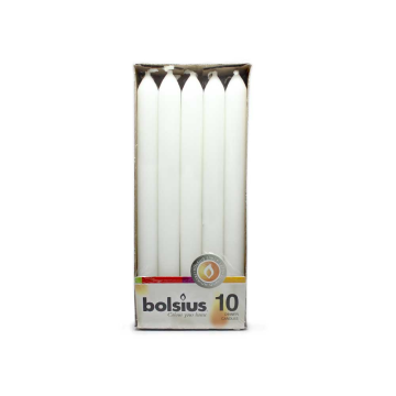 Bolsius Dinner Candles White x10/ Velas de Cena Blancas