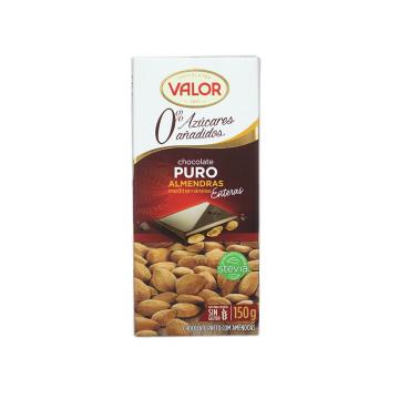 Valor Chocolate Puro con Almendras 0% Azúcares 150g