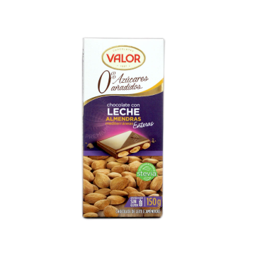 Valor Chocolate Leche 0% Azúcar 125g/ Milk Chocolate with Almonds Sugar-free