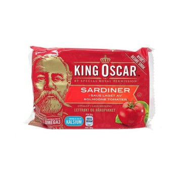 King Oscar Sardiner i Saus Laget Av Solmodne Tomater 100g/ Sardines in Tomato Sauce
