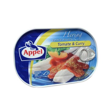 Appel Hering Filets in Tomaten Mit Curry 200g/ Herring with Tomato and Curry