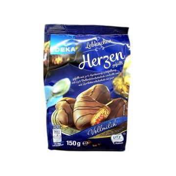 Edeka Lebkuchen Herzen Vollmilch 150g/ Milk Choco Hearts