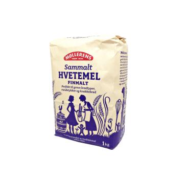 Møllerens Sammalt Hvetemel Finmalt 1Kg/ Fine Whole Wheat Flour