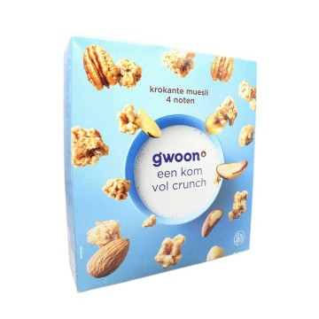 G'woon Krokante Muesli 4 Noten 500g/ Muesli with Nuts
