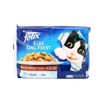 Felix Malse Reepjes Vleess In Gelei 4x100g/ Comida para Gato Carne
